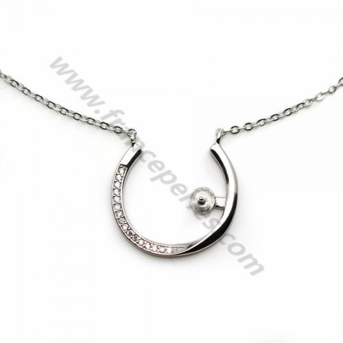 Chaîne en argent 925 rhodié maille ovale & zirconium pour perle semi percé x 45cm