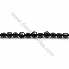 Black spinelle in shape of flat round faceted 4mm x 10pcs