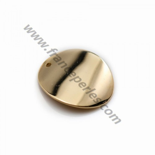 "Charm in round shape 15mm plated by ""flash"" gold on brass x 4pcs"