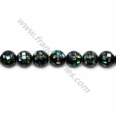 White mother-of-pearl round beads on thread 8mm x 40cm