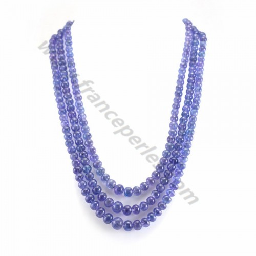 Collier tanzanite rondelle facette dégradé 3 rangs