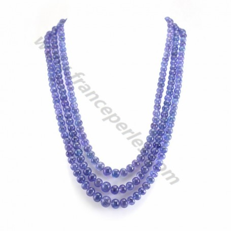 Necklace tanzanite degraded faceted rondelle 3 strands