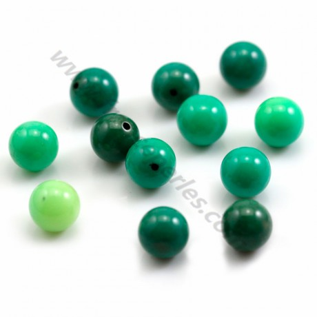 Round green grass agate 10mm, semi-drilled x 2pcs