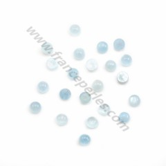 Cabochon aquamarine  round 8mm x 1pc