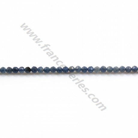 Round sapphire faceted 2mm x 40cm