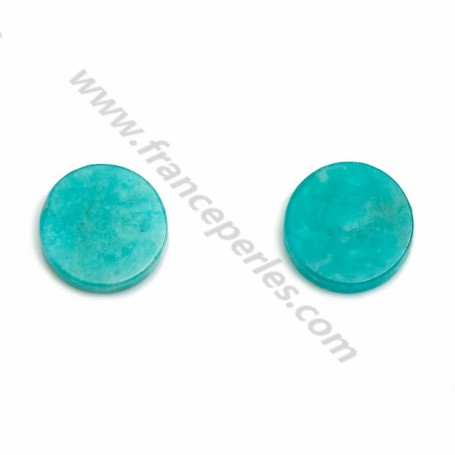 Blue cabochon of amazonite, in round shape, 8mm x 4 pcs