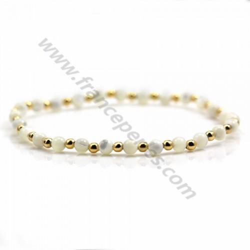 Bracelet Aquamarine & Morganite 4mm with golden pearl x 1pc