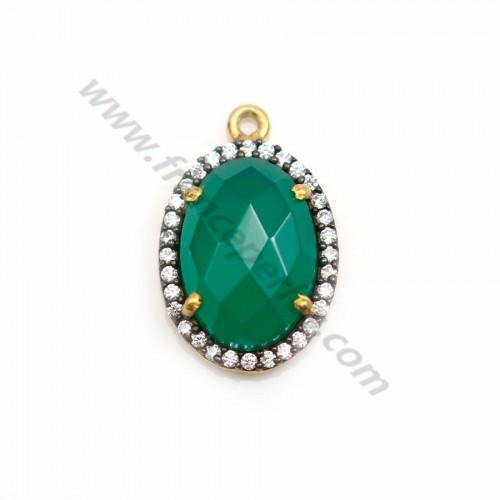 Faceted oval green agate set in gold-plated silver  with zirconium 15mm x 1pc
