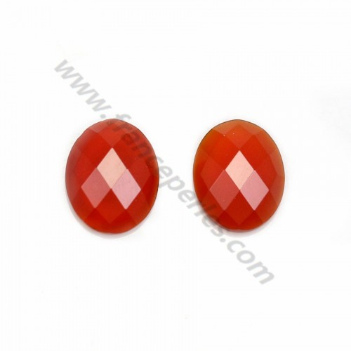 Cabochon carnelian in the shape of a faceted oval 8*10mm x 1pc