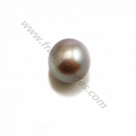 Freshwater cultured pearl half drilled purple, in oval shape, in size of 9.5-10mm x 1pc