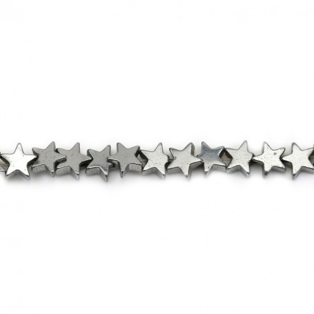 Silver Hematite, in shape of a star, 4mm x 40 cm