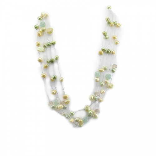 Collier perle de culture d'eau douce multicolore & aventurine 5 rangs