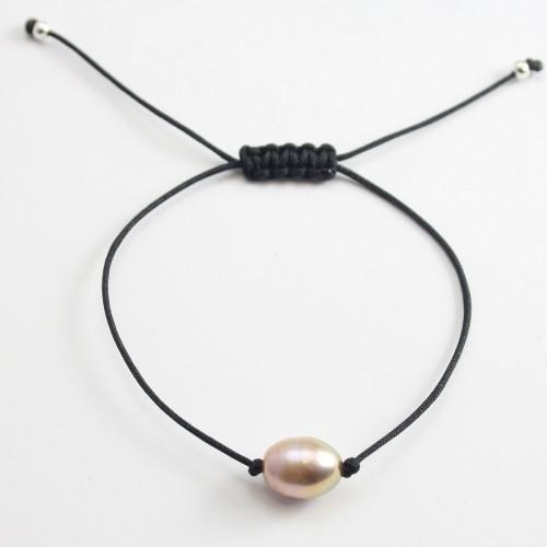 Bracelet cordon perle d'eau douce mauve