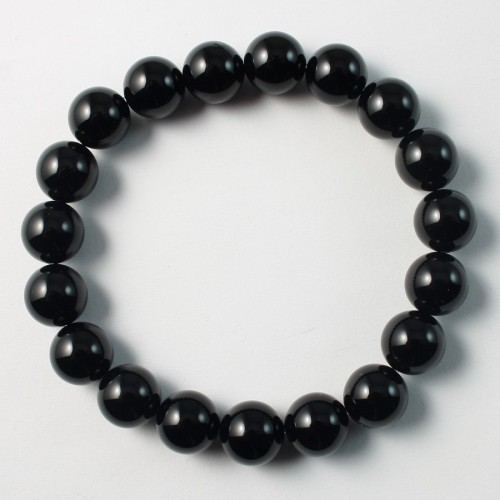 Bracelet Agate noir boule rond 10 mm