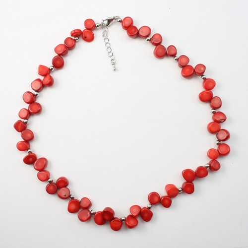 COLLIER SIMPLE BAMBOO DE MER ROUGE ROND PLAT
