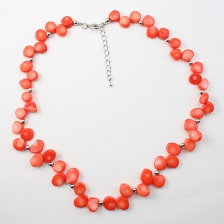 COLLIER SIMPLE BAMBOO DE MER ORANGE ROND PLAT
